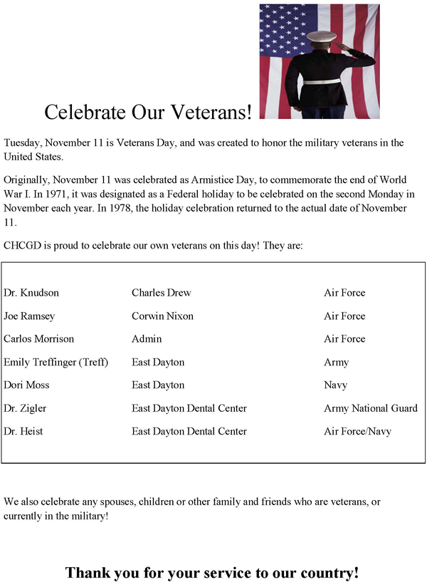 We Celebrate Our Veterans at Community Health Centers of Greater Dayton OH